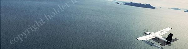 水陸両用機で会場を飛ぶ