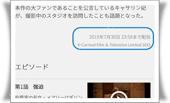 動画の配信期間が表示されている箇所