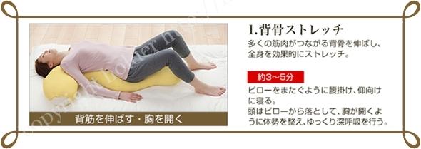 ファイテン抱き枕を使って背骨のストレッチ