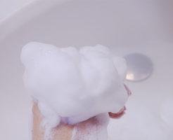 白樺石けんの泡はクリーミーでもこもこ