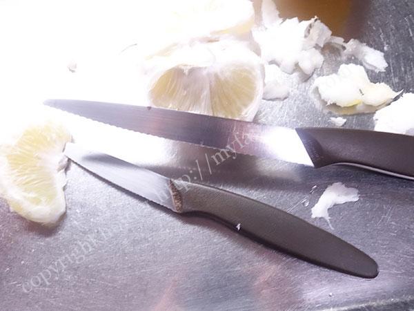 文旦とナイフ